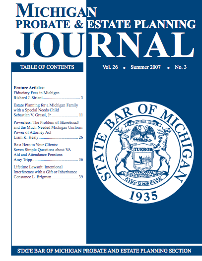 Michigan Probate Estate Journal