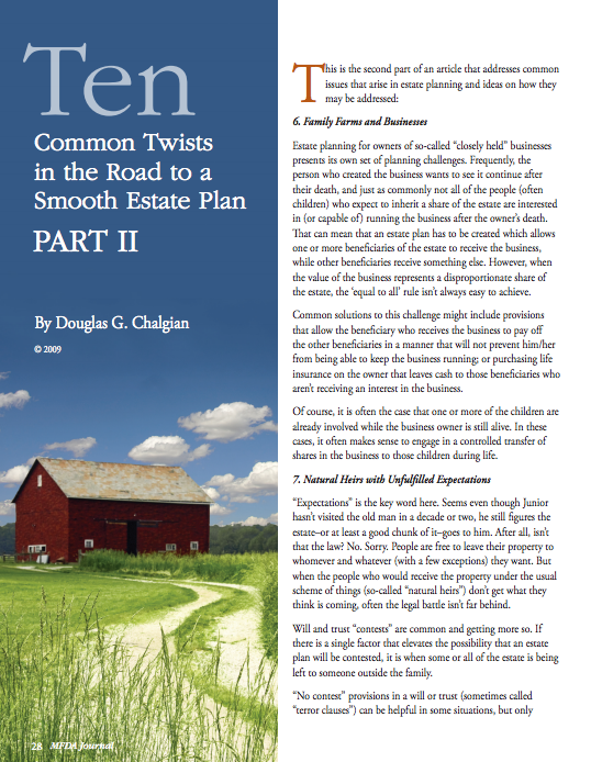 Ten Common Twists in the Road to a Smooth Estate Plan: Part II