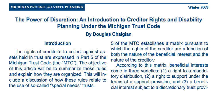 Power of Discretion and Introduction to Creditor Rights and Disability Planning Under the Michigan Trust Code