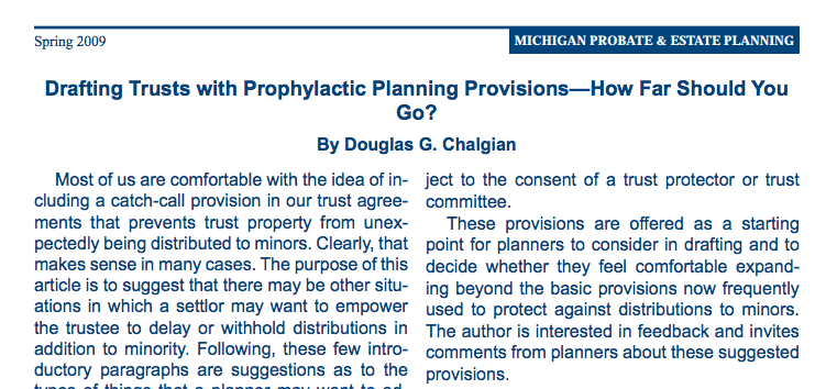 Drafting Trusts with Prophylactic Planning Provisions