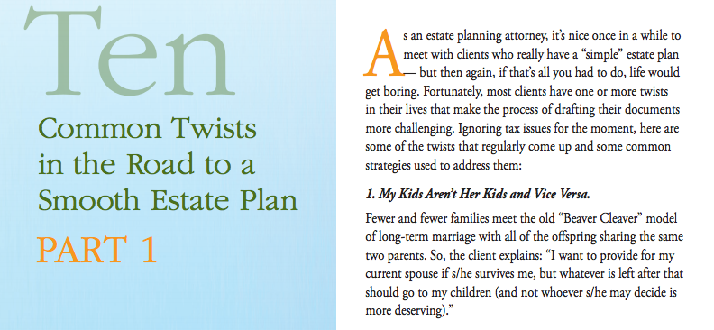 Ten Common Twists in the Road to a Smooth Estate Plan