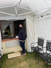 Eugene inside tent at nursing home