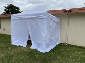 Tent outside nursing home